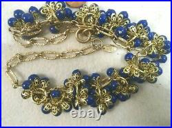 MIRIAM HASKELL Russian Gold Gilt Chain Bib Necklace with Royal Blue Bead Clusters