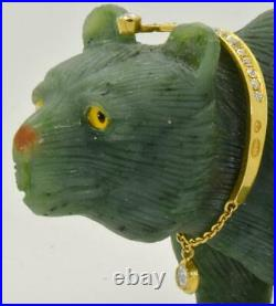 MUSEUM Imperial Russian Faberge jewelled Nephrite, gold&2ct Diamonds Bear figure