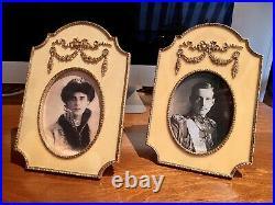 Pair Vintage Faberge Photo Frame Russian Imperial Gold Guilloche Oval Yellow 5x7