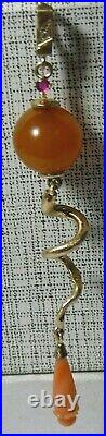 Pendant 56 (14k) Gold Diamond Amber Coral Ruby Imperial Russian 1909