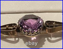 RUSSIAN IMPERIAL 56 MARK'S YELLOW GOLD And AMETHYST BROOCH