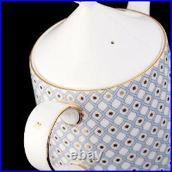 RUSSIAN Imperial Lomonosov Bone Porcelain Tea Set Idyll 6/10 Gold Gold Blue