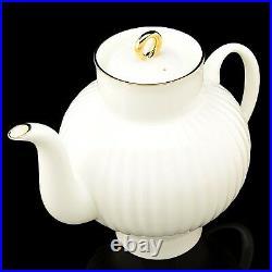 RUSSIAN Imperial Lomonosov Bone Porcelain Teapot White Golden Ribbon 22k Gold