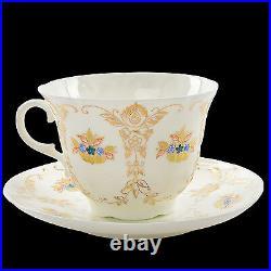RUSSIAN Imperial Lomonosov Porcelain Bone Tea Cup and Saucer Etude Rare 22 Gold