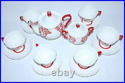 RUSSIAN Imperial Lomonosov Porcelain Bone Tea Set Coral 22k Gold 6/14 Rare