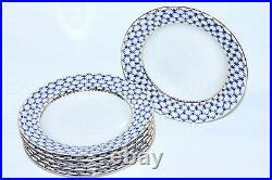 RUSSIAN Imperial Lomonosov Porcelain Set 6 Deep Plates Cobalt Net Soup 22k Gold