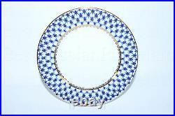 RUSSIAN Imperial Lomonosov Porcelain Set 6 Dessert Plates Cobalt Net Gold 7.48