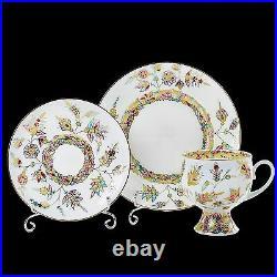 RUSSIAN Imperial Lomonosov Porcelain Set Tea Cup, Saucer, Plate Golden Branches