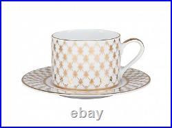 RUSSIAN Imperial Lomonosov Porcelain Set Tea Cup, Saucer, Teapot Net Jazz Gold