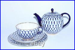 RUSSIAN Imperial Lomonosov Porcelain Set Teapot Cup Saucer Plate Cobalt Net Gold