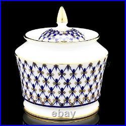 RUSSIAN Imperial Lomonosov Porcelain Tea set Cobalt Net 6/14 Gold Blue New Bone