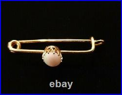Rare Antique Imperial 14K Russian 56 Gold Natural Fire Opal Brooch Pin Jewelry