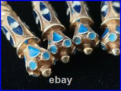Rare Antique Imperial Russian Cloisonne Fire Enamel Silver Gold Wash Spoon Set 6