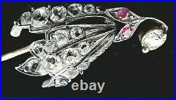 Rare Antique Imperial Russian Silver Gold Victorian Diamond Brooch Stick Pin RU