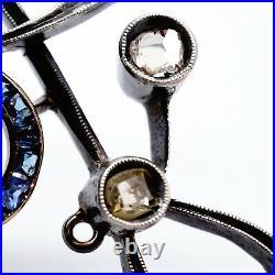 Rare Antique Russian Imperial Gold Diamond Sapphire Brooch Pin Romanov Jewelry