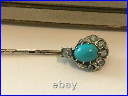 Rare Imperial Russian 14 56 EK Kollin Gold Turquoise Diamond Stick Pin brooch