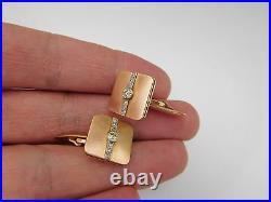 Rare Imperial Russian 14K 56 Zolotnik Gold Diamonds Loyal Commitment Cufflinks