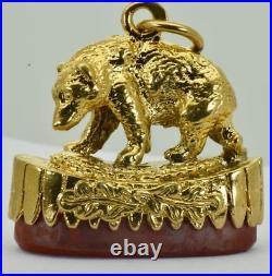 Rare Imperial Russian 18k gold plated silver Bear fob/Skull&Bones Carnelian seal