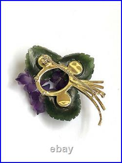 Rare Imperial Russian Faberge 14K Gold 56 Jade, Diamond, Amethyst Lady Brooch