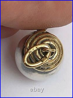 Rare Imperial Russian Faberge 14k Gold 56 Silver Egg Snake Pendant Kollin 1895's