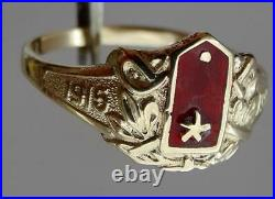 Rare Imperial Russian White Army cavalry officer's award 14k/56 gold&enamel ring