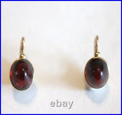 Rare Russian Imperial 1850's 56 Gold Sugarloaf Garnet Earrings Lever Back