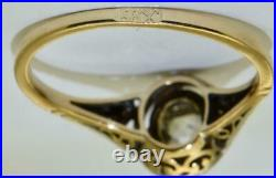 Rare antique 19th C. Imperial Russian 14k gold(56)&0.7ct Diamond engagement ring