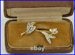 Rare antique Imperial Russian 18k gold(72) & diamonds flower brooch in box c1890