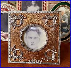Round Faberge Terragraphics Photo Frame Enamel Guilloche Russian Imperial Circle