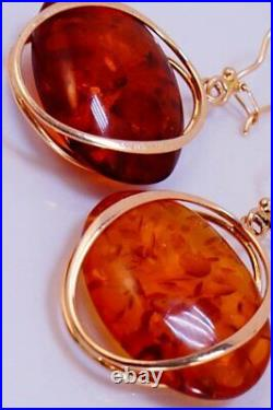 Royal Vintage USSR Soviet Russian Solid Rose Gold Earrings Amber Stone 583 14k