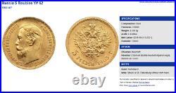 Russian Empire 1903 Gold 5 Rubles Emperor Nikolai II Imperial NGC MS67+