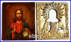 Russian Imperial Enamel Orthodox Icon Jesus Christ Pantocrator Silver 84 Gold C