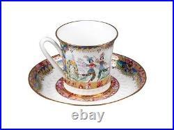 Russian Imperial Lomonosov Porcelain Bone Tea Cup & Saucer Russian Ballet Gold