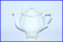 Russian Imperial Lomonosov Porcelain Bone Tea Set Golden Ribbon 22k Gold 6/14