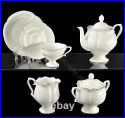 Russian Imperial Lomonosov Porcelain Bone Tea Set Golden Ribbon 6/30 Gold Rare