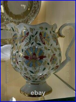 Russian Imperial Lomonosov Porcelain Bone Tea Set Pink flowers Gold 6/20 Russia