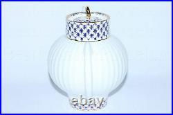 Russian Imperial Lomonosov Porcelain Bone Teapot Cobalt Net 22k Gold Russia Lfz