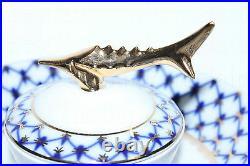 Russian Imperial Lomonosov Porcelain Dish for Caviar / Ikornitsa Cobalt Net Gold