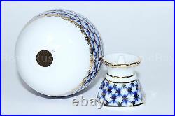 Russian Imperial Lomonosov Porcelain Easter egg Cobalt Net 22k Gold Russia Rare