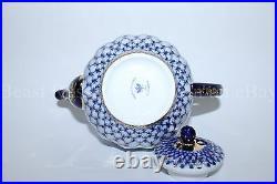 Russian Imperial Lomonosov Porcelain Hard Teapot Tulip Cobalt Net Gold RARE Lfz