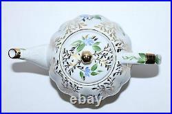 Russian Imperial Lomonosov Porcelain Hard Teapot Tulip Golden Herbs 22 Gold RARE