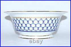 Russian Imperial Lomonosov Porcelain Salad Dish 6 person Cobalt Net 22 Gold Rare