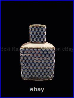 Russian Imperial Lomonosov Porcelain Tea Caddy Cobalt Net 22k Gold Russia