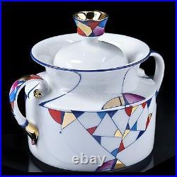 Russian Imperial Lomonosov Porcelain Tea Set Kaleidoscope 6/14 22k Gold Rare