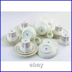 Russian Imperial Lomonosov Porcelain Tea set Rose blues 6/20 Pink grid net Gold