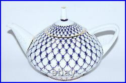 Russian Imperial Lomonosov Porcelain Teapot Cobalt Net 22k Gold Russia Bone LFZ