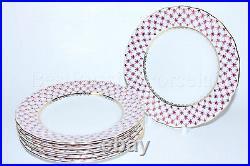 Russian Imperial Lomonosov Porcelain set 6 Dessert Plates Net Blues Gold 7.09