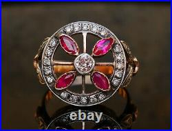 Russian Imperial Ring 1ctw Diamonds + Rubies solid 56 14K Gold Ø US 8.5 /5.4 gr