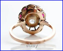 Russian Imperial Ring solid 56 14K Gold 1.85ct Diamond Rubies Ø US7.5 /2.8gr