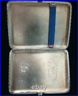 Russian Imperial Silver 84 Art Deco Cigarette Case Vesta Snuff Box Gold Ruby 14K
